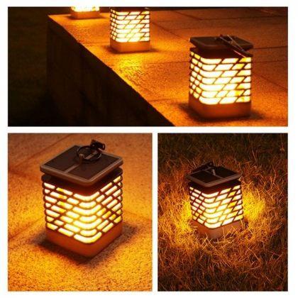 Outdoor 75 LED Solar Flame Lantern - Hanging Light Garden Decoration