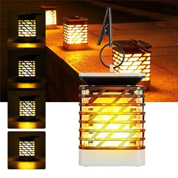 LED Solar Lights Outdoor Hanging Lantern Dancing Flame Light Path Patio Decor
