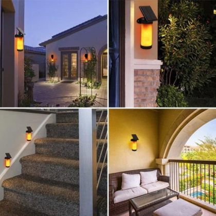 Dancing Flame Solar Flickering Light outdoor 102 LED Wall Lamp with Light Control and 3 lighting modes for Garden Patio Pathway