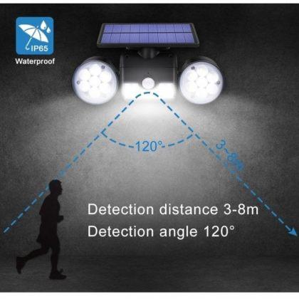Adjustable Angle Dual 30 LED Solar Wall Security Spotlight with Sensor