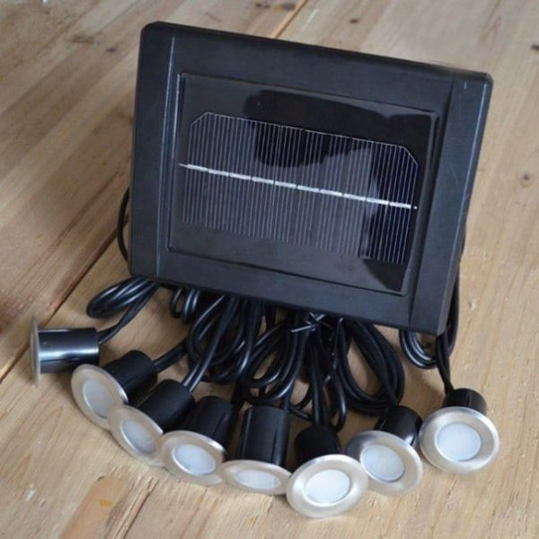 Stainless 8 Light Heads 16 LED Buried Solar Deck Light for Pathway
