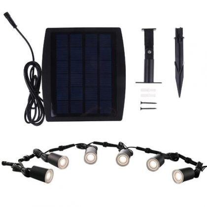 Stainless Steel In-Ground Buried Solar Deck Lights Outdoor Kit 6pcs