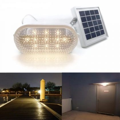 Heavy Duty Compact Solar Shed Wall Light Dimmable LED Warm White