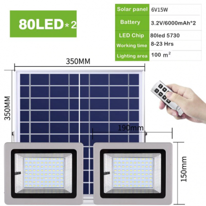 Universal Powerful Solar Food Light Double LED Head with Remote Control