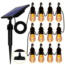 Bright Solar String Light Edison 12 Outdoor Decoration Warm White Bulbs