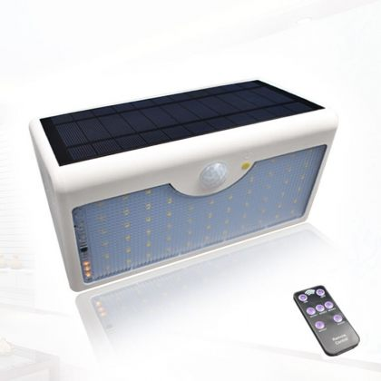Bright 60 LED Security Solar Motion Sensor Wall Light Remote Control