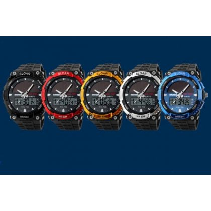 Solar Dual Time Waterproof LED Analog-Digital Watch