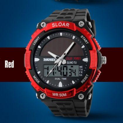 Solar Dual Time Waterproof LED Analog-Digital Watch