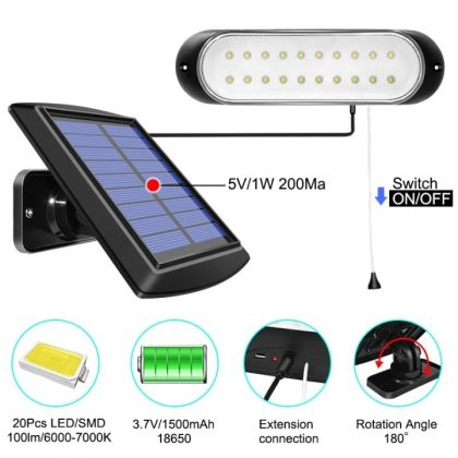 Compact Outdoor 20 LED Solar Shed Light Indoor Daytime Application