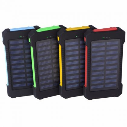 Dual USB Solar Power Bank 10000mAh Universal Battery Charger Torch