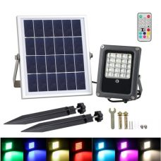 Solar Garden Flood Light 10W 50W LED RGB Colours Landscape Decoration