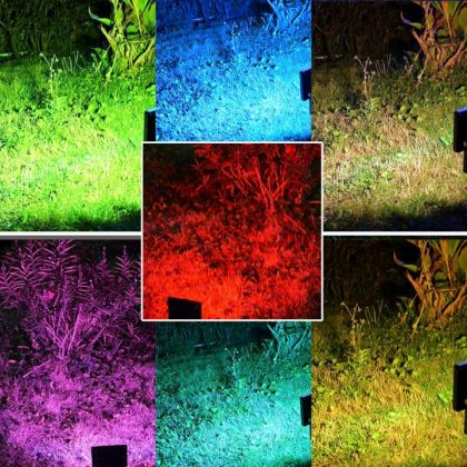 Solar Garden Flood Light 10W 50W LED RGB Colours Landscape Decoration