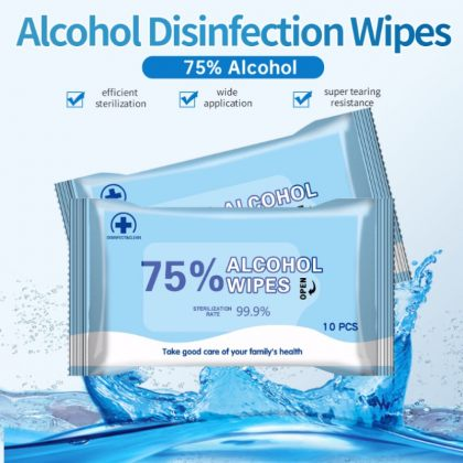 Free 75% Alcohol Hand Sanitizer Wipes Antibacterial Disposable Wet Wipes Pack