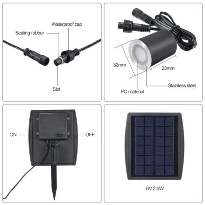 Stainless Steel In-Ground Buried Solar Deck Lights Outdoor Kit