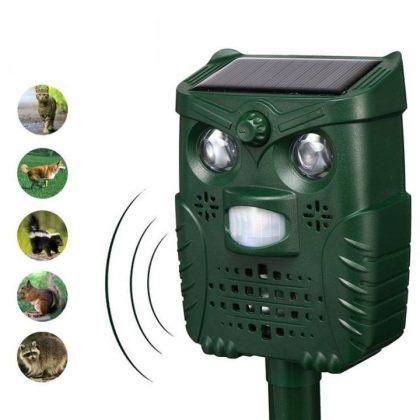 Universal Ultrasonic Solar Birds Animal Repeller PIR Sensor LED Light