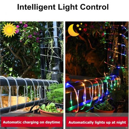 Bright Solar Fairy Lights Outdoor LED Tube String With Remote Control