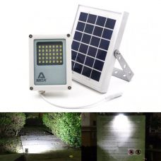 Compact Solar Flood Light 35 LED Durable Metal Security Garden Lamp