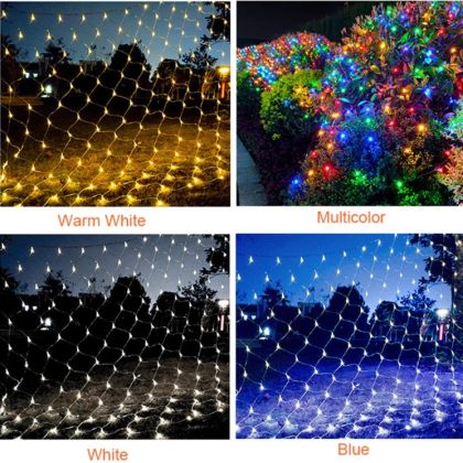 Bright Solar Christmas Lights Tree Net LED Decoration Garden Garland
