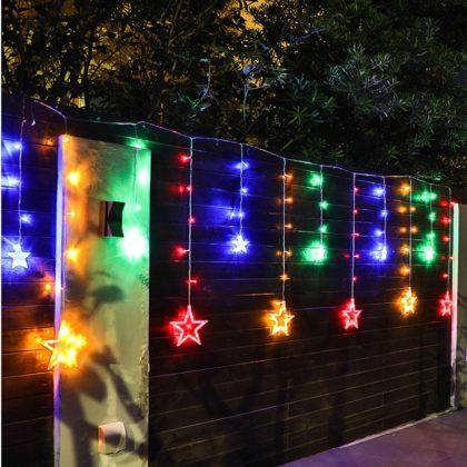 Solar Christmas String Lights LED Stars Outdoor Garland Decoration