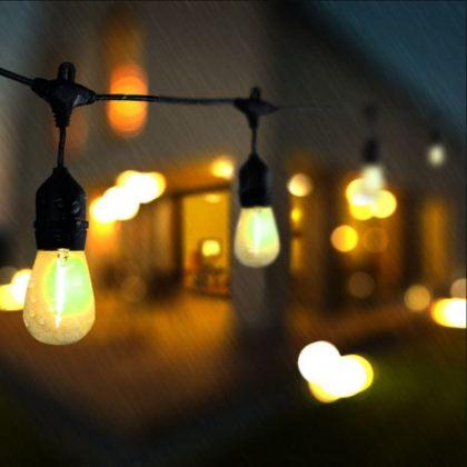 Vintage Outdoor Solar Fairy String Lights LED Glass Bulbs Decoration
