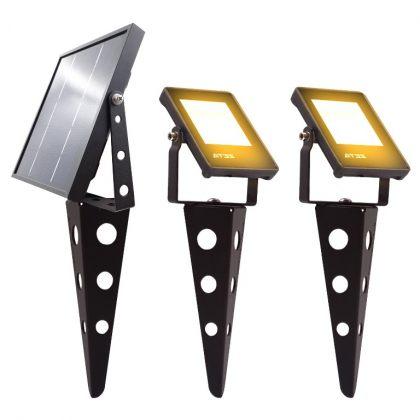 Durable Solar Garden Landscape Spotlight Bright 6 LED Twin Head IP65
