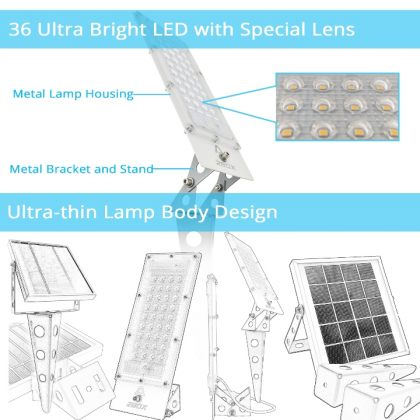 Ultra-Bright 36 LED Solar Flood Light Garden Landscape Signs Lamp