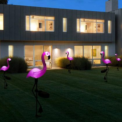 Pink Flamingo Solar Garden Light Ground Stake LED Lawn Decoration 2pcs