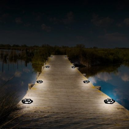 Shock-Resistant 6 LED Solar Path Stud Light Road Driveway Aluminium