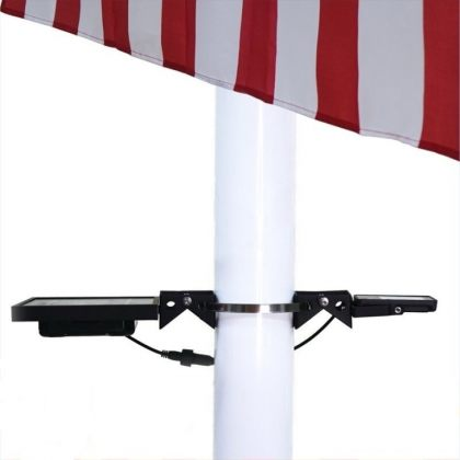 Powerful Solar Flag Pole Light Warm White LED Dusk To Dawn Outdoor Set