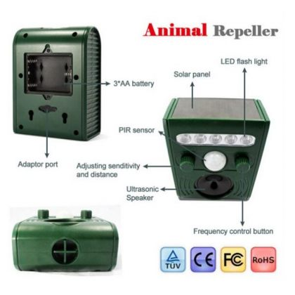 Solar Ultrasonic Animal Repeller PIR LED Light