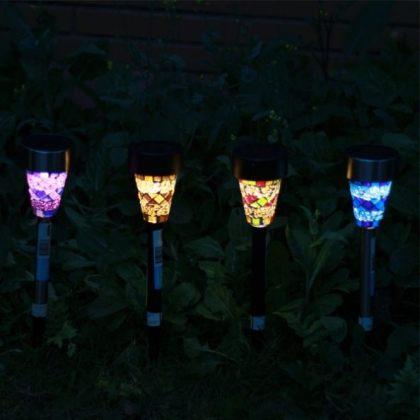 Solar garden light mosaic Stake LED Light Lawn Decoration Lamp