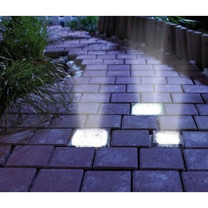 Crystal Glass White LED Light Ground Pathway Brick Design