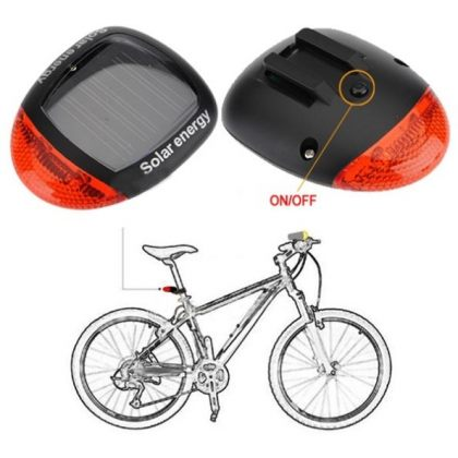 Road Safety Solar Bike Rear Tail 2 LED Light 3 Modes